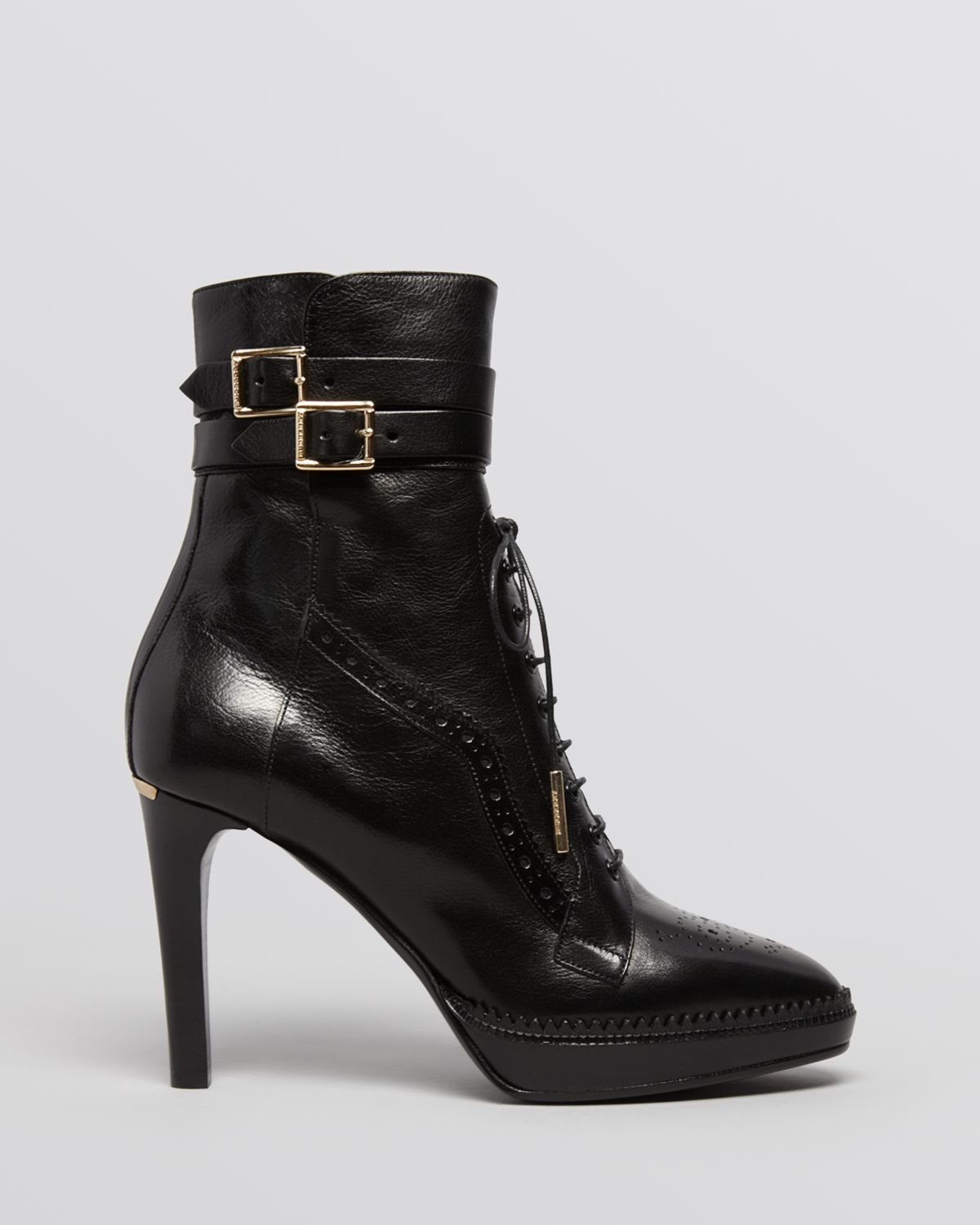 Burberry Lace Up Platform Booties Manners High Heel In