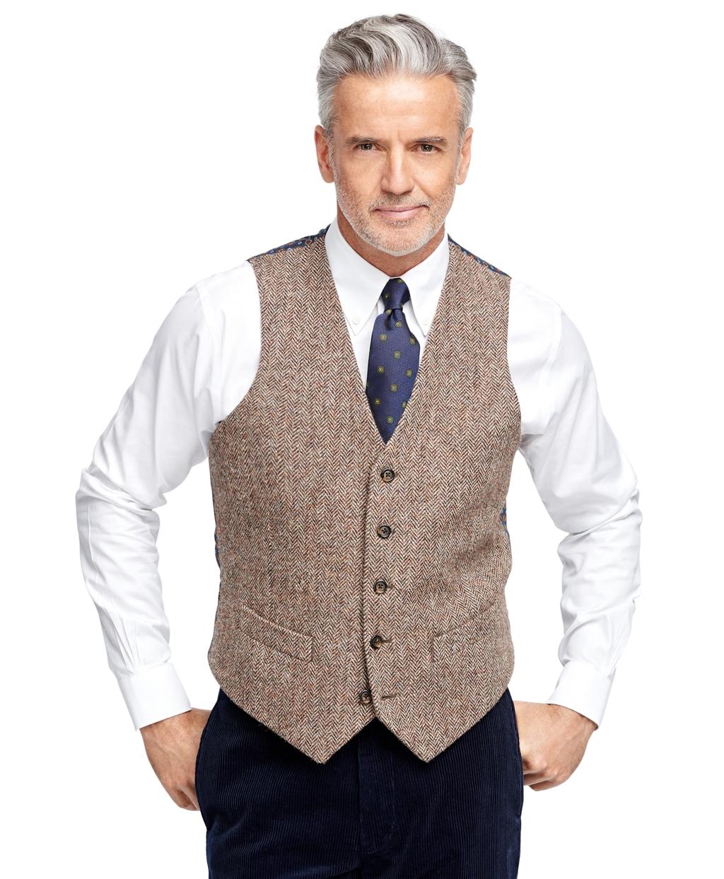 Brooks Brothers Harris Tweed Herringbone Vest In Brown For