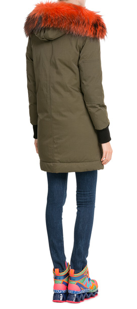 60a7ef95e645 KENZO Down Parka With Fur-trimmed Hood - Green in Green - Lyst