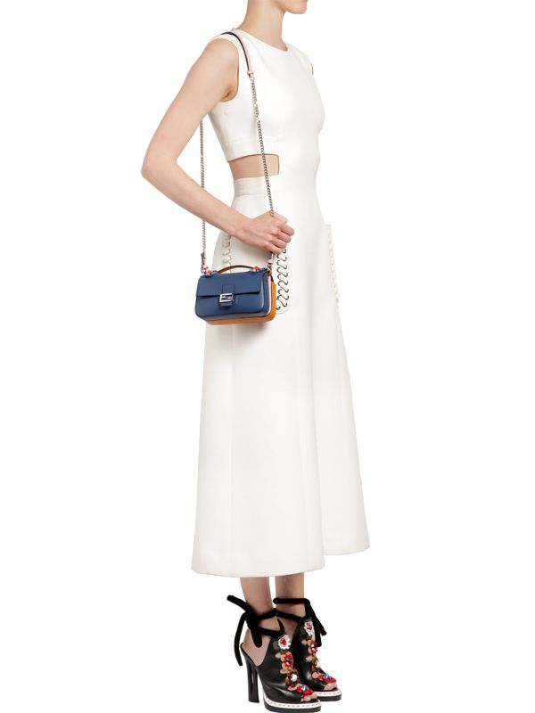 575bc9e761cb ... discount lyst fendi double micro baguette leather bag in blue 03b8d  edb4d