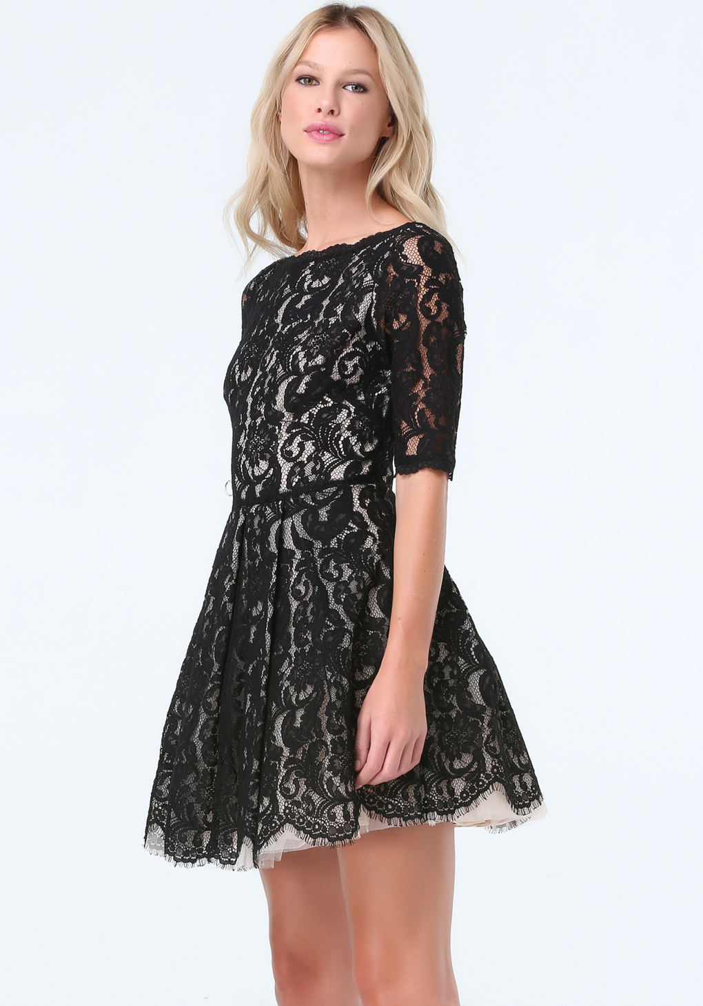 a2ba6add138 Lyst - Bebe Lace Fit   Flare Dress in Black