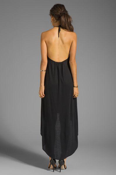 Haute Hippie High Low Halter Neck Dress In Black In Black