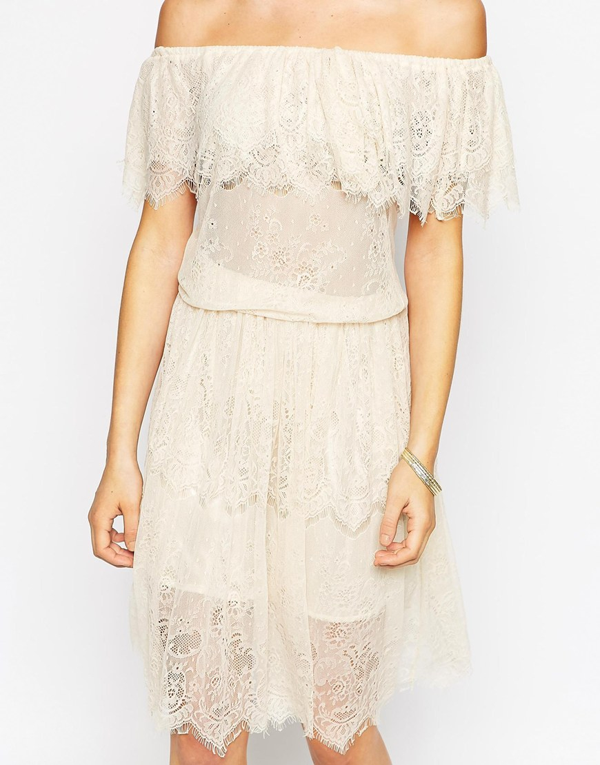 Darccy Vintage Boho Lace Off Shoulder Midi Dress in Natural  Lyst