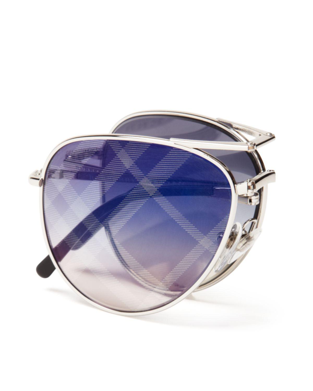 24449339eb61 Burberry Spark Mirrored Aviator Sunglasses in Metallic - Lyst