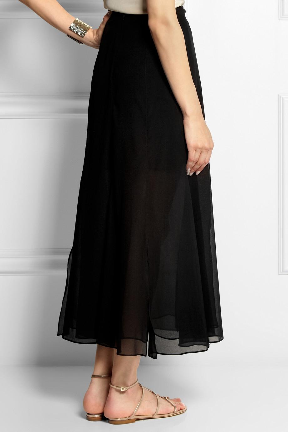 Theory Swind Stretch-Silk Chiffon Midi Skirt in Black | Lyst