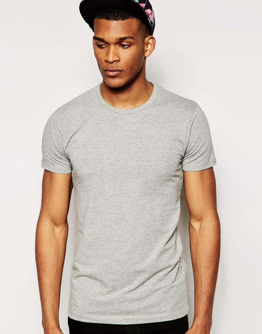 jack jones t shirt in regular fit in gray for men grey. Black Bedroom Furniture Sets. Home Design Ideas