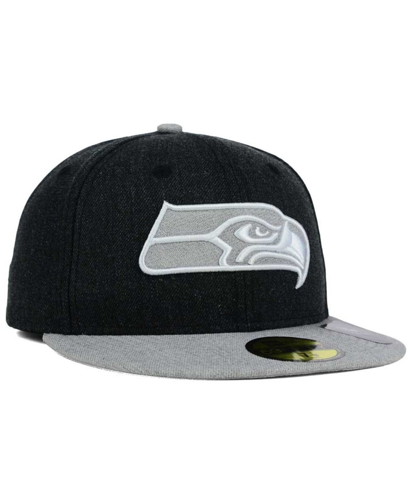 best service a2e06 bfbb3 KTZ Seattle Seahawks Heather Action 2-tone 59fifty Cap in Black for ...