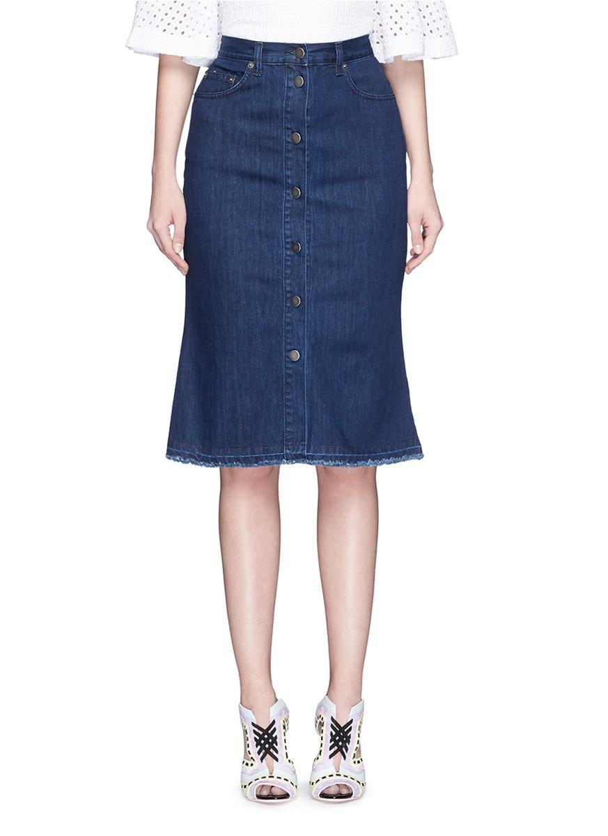 nicholas button front denim skirt in blue lyst