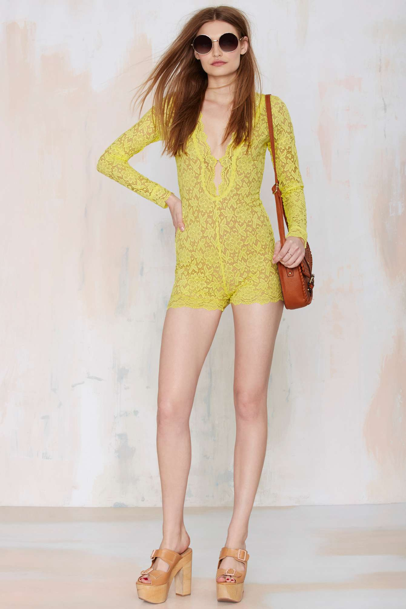 41733ee0d1f Lyst - Nasty Gal Gimme Shelter Lace Romper in Yellow