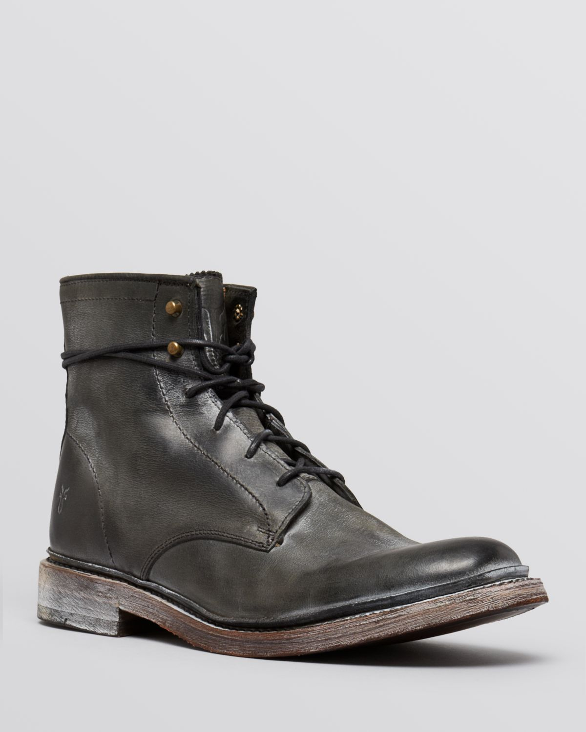 frye distressed leather boots in black for lyst