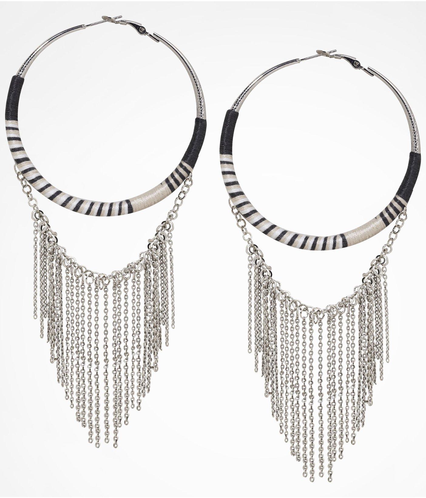 Lyst Express Thread Wrapped Chain Fringe Hoop Earrings in Metallic