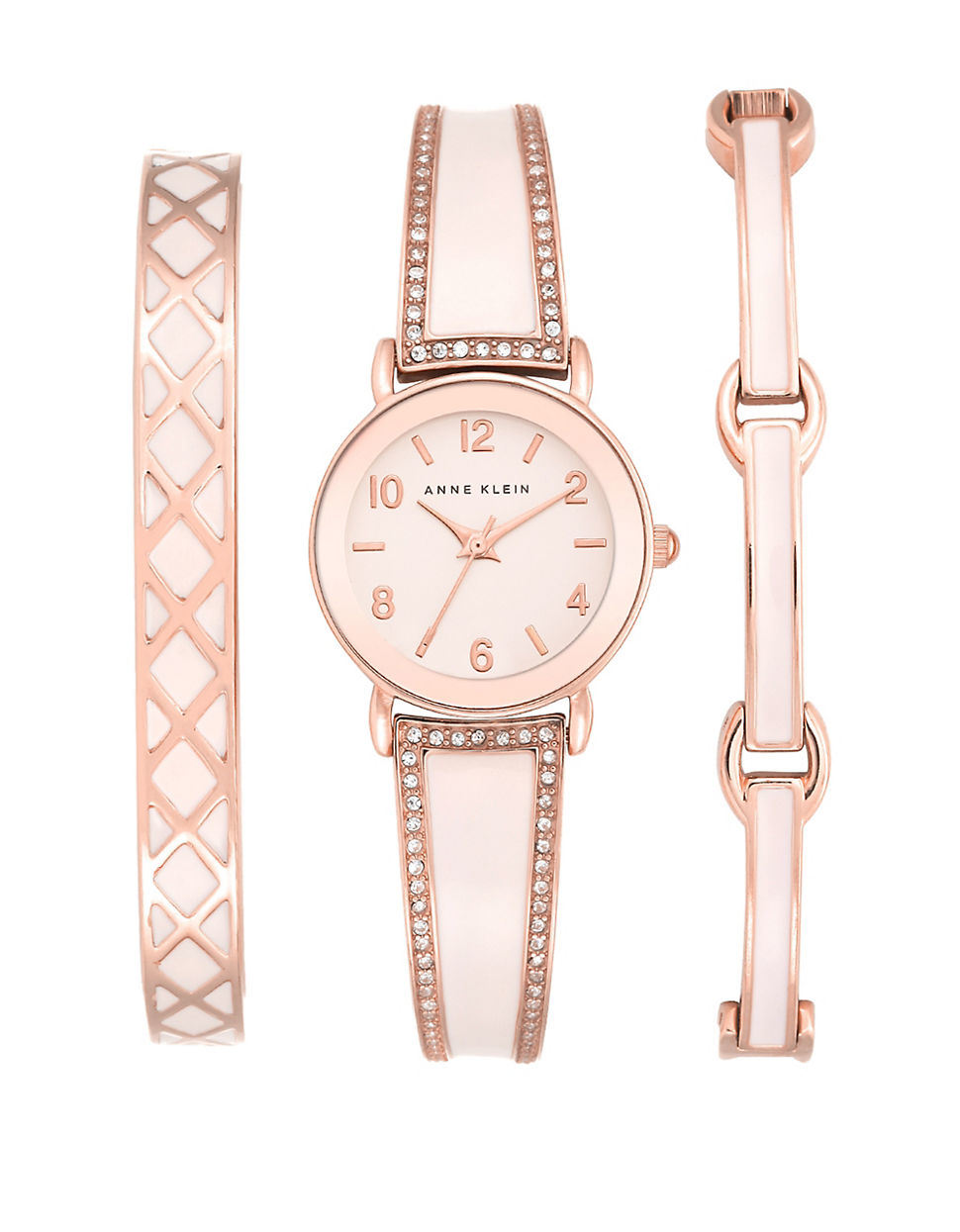 Anne klein bangle watch set in pink lyst for Anne klein rose gold watch set