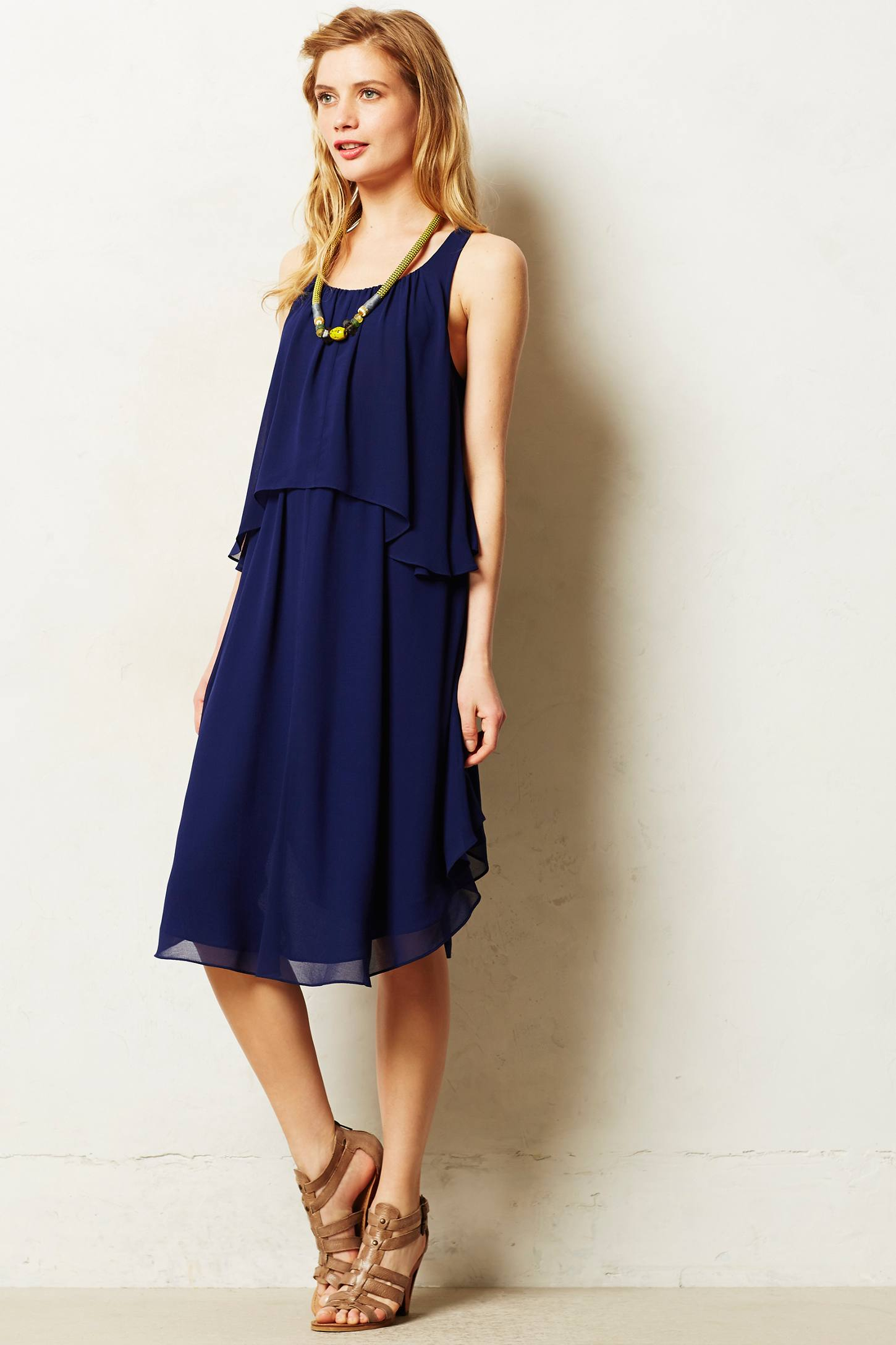Maeve Tiered Midi Dress in Blue | Lyst