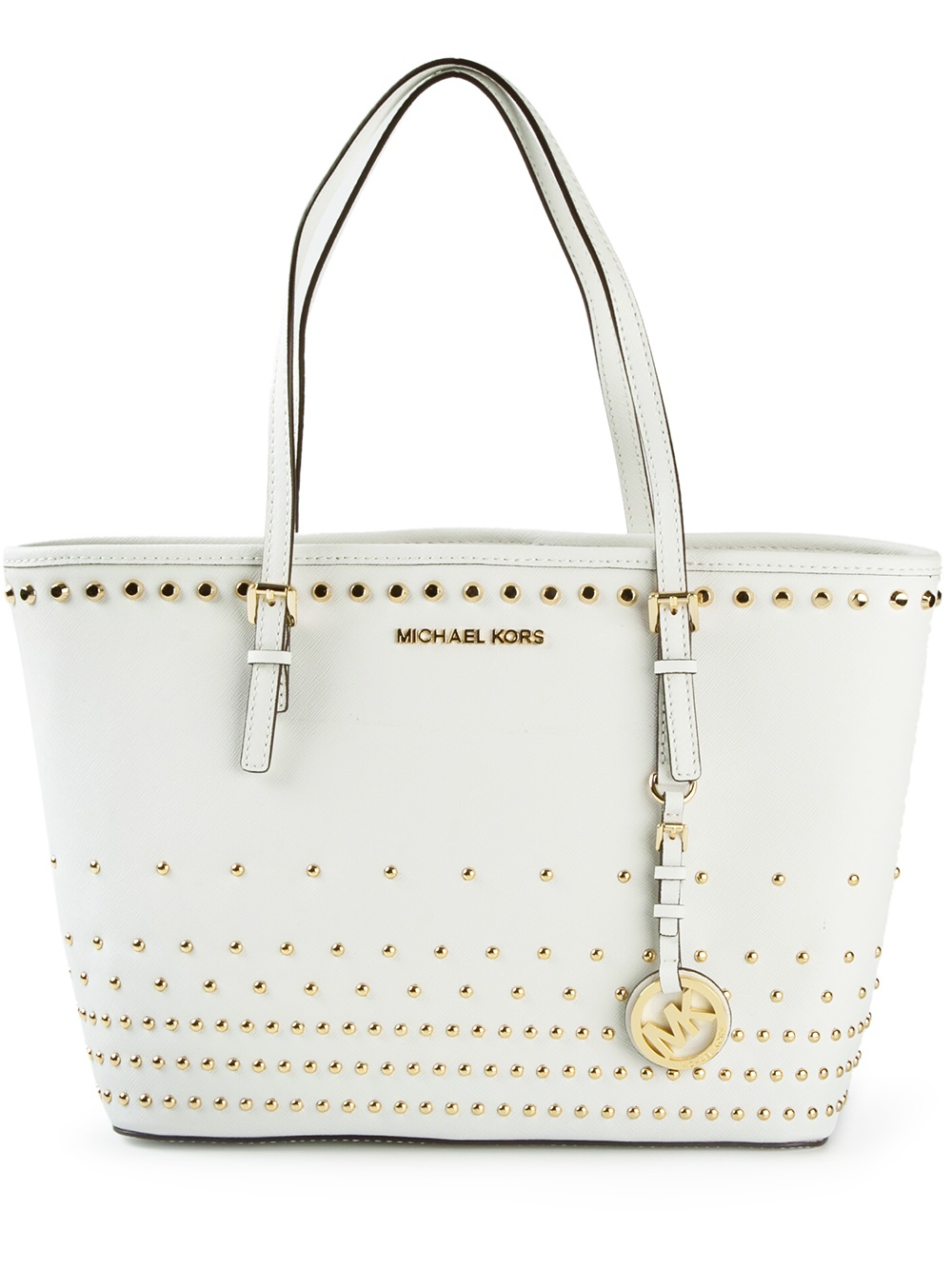 Michael michael kors Studded Tote in White | Lyst