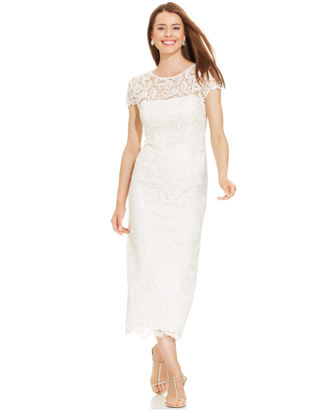 Patra Illusion Lace Tea-Length Dress in White | Lyst