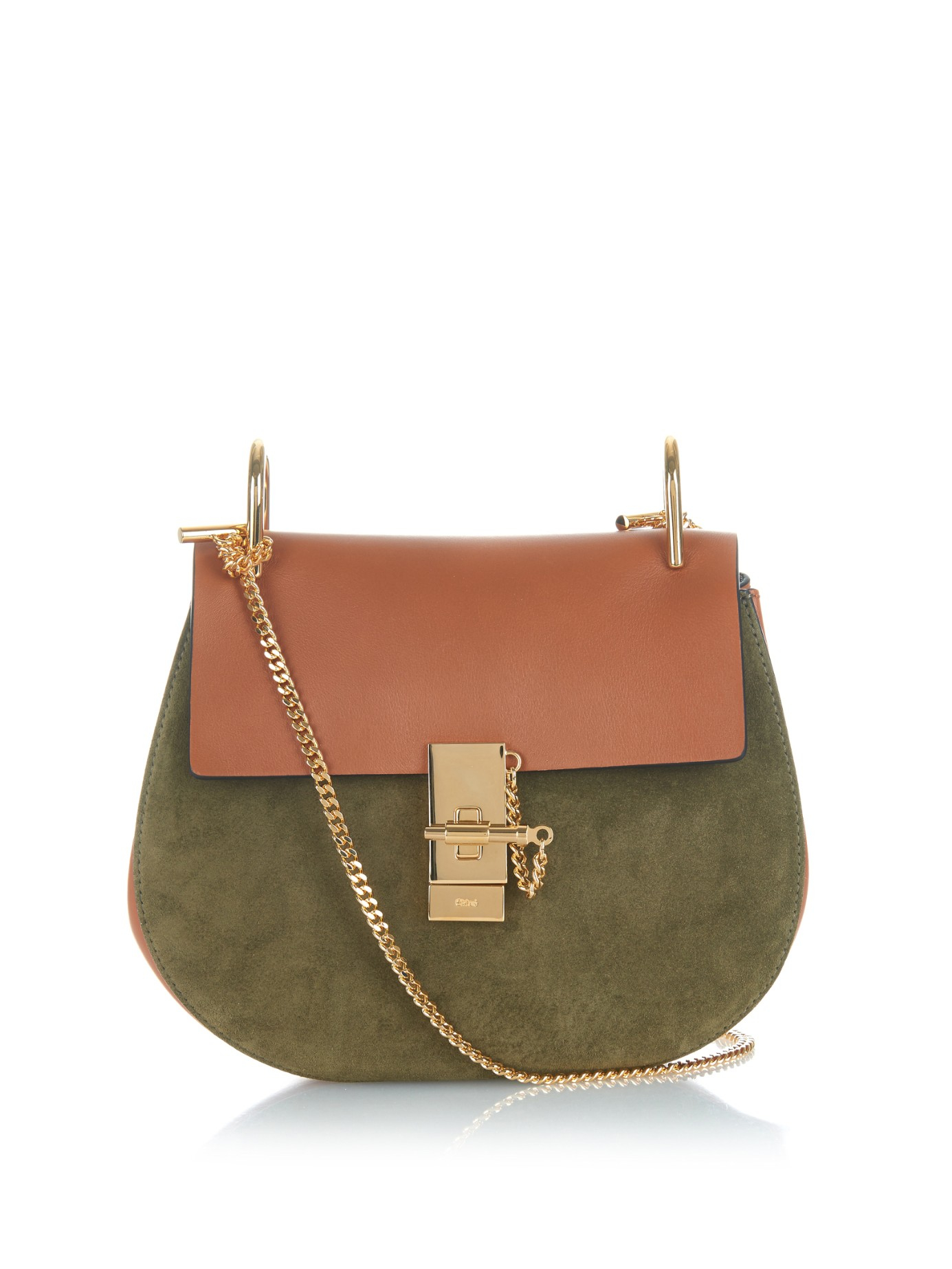 clhoe bag - Chlo�� Drew Small Leather and Suede Shoulder Bag in Natural (KHAKI ...