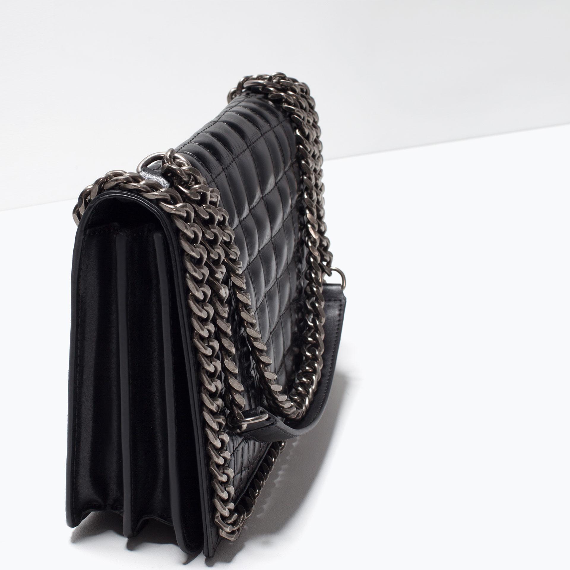 Zara City Chain-Trimmed Shoulder Bag in Black