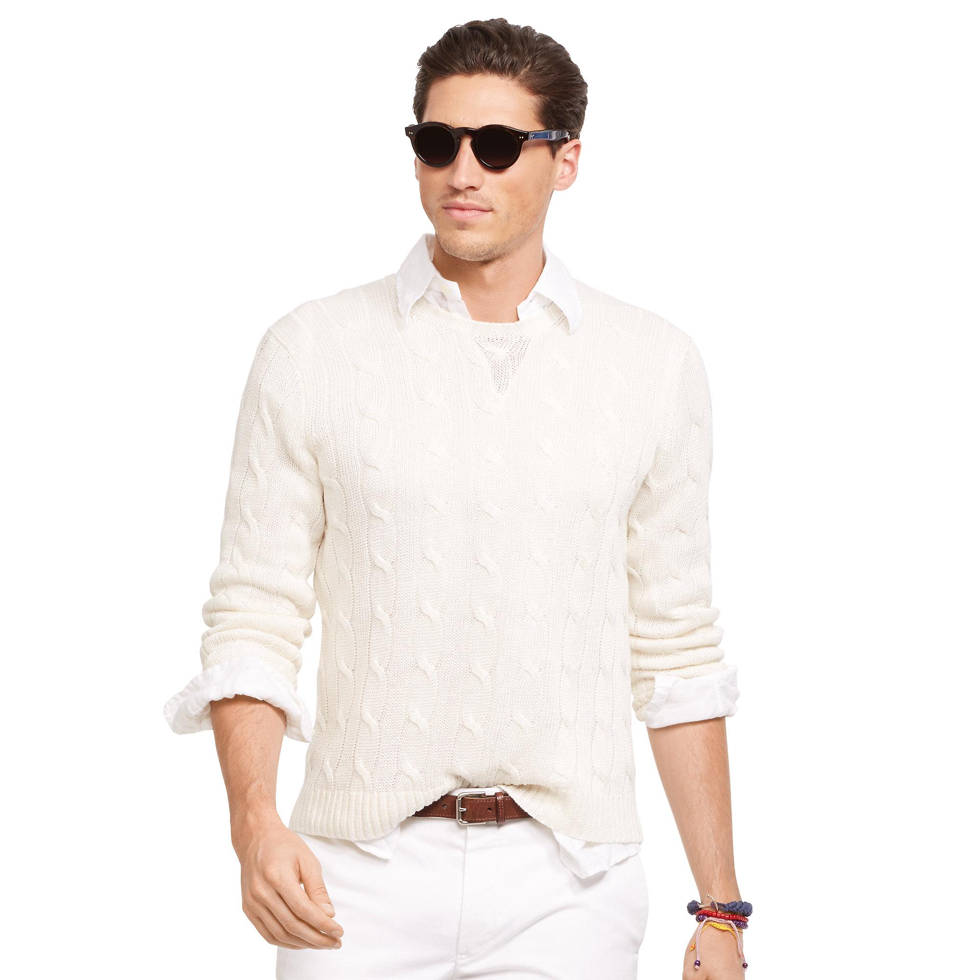 Ralph Lauren Käsilaukku : Lyst polo ralph lauren cable knit linen sweater in white