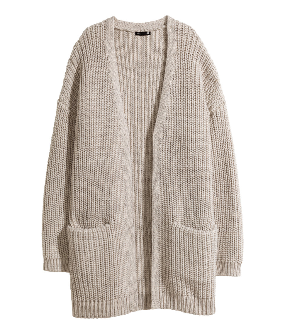 H&m Rib-knit Cardigan in Natural | Lyst
