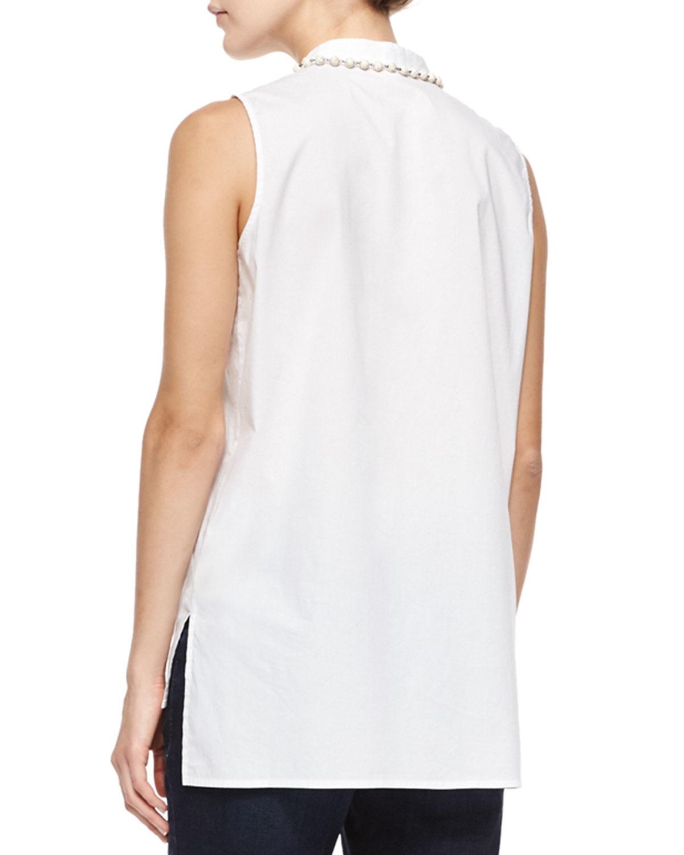 Eileen fisher sleeveless organic cotton shirt in white lyst for Eileen fisher organic cotton t shirt