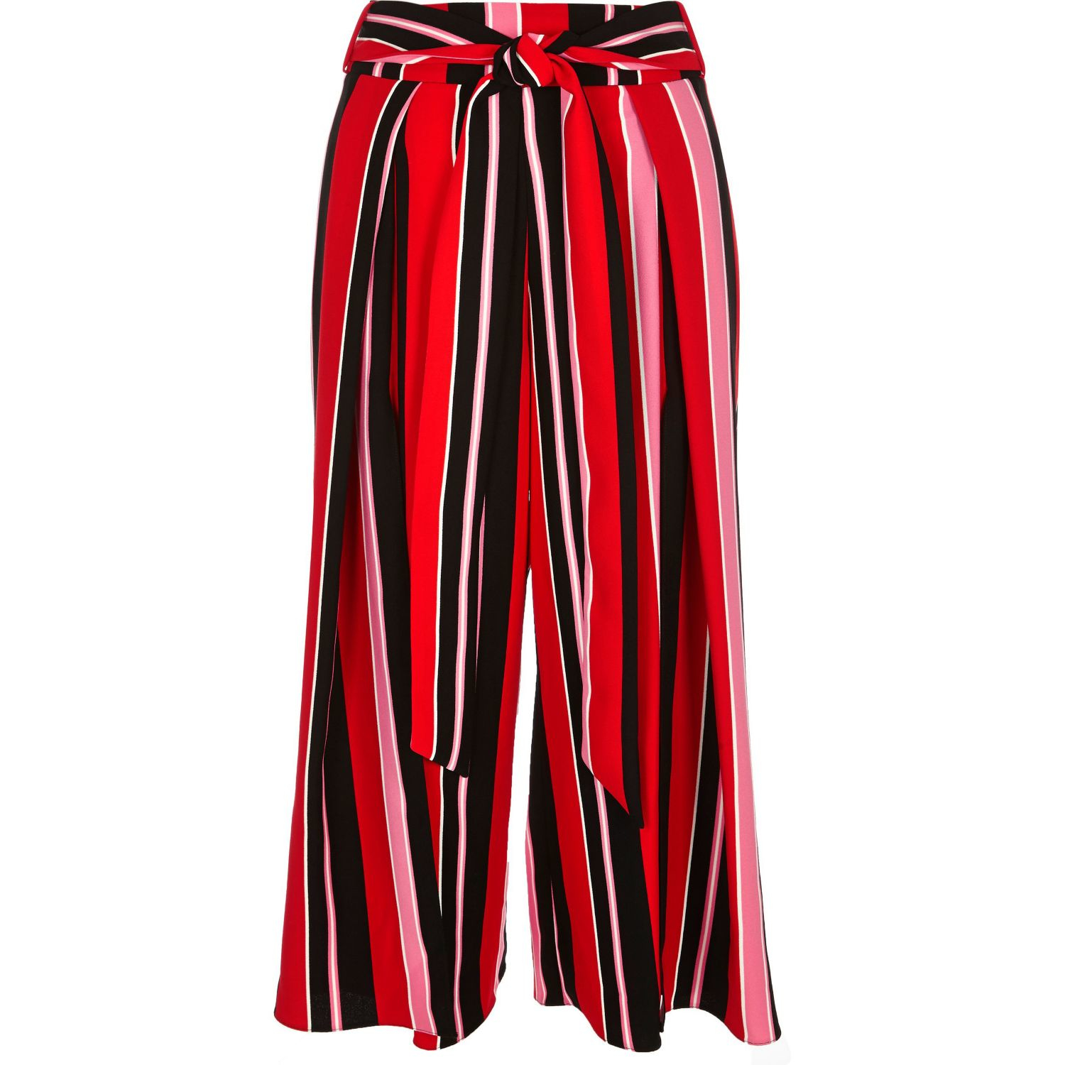 River Island Red Stripe Soft Cropped Wide Leg Trousers In Red Lyst