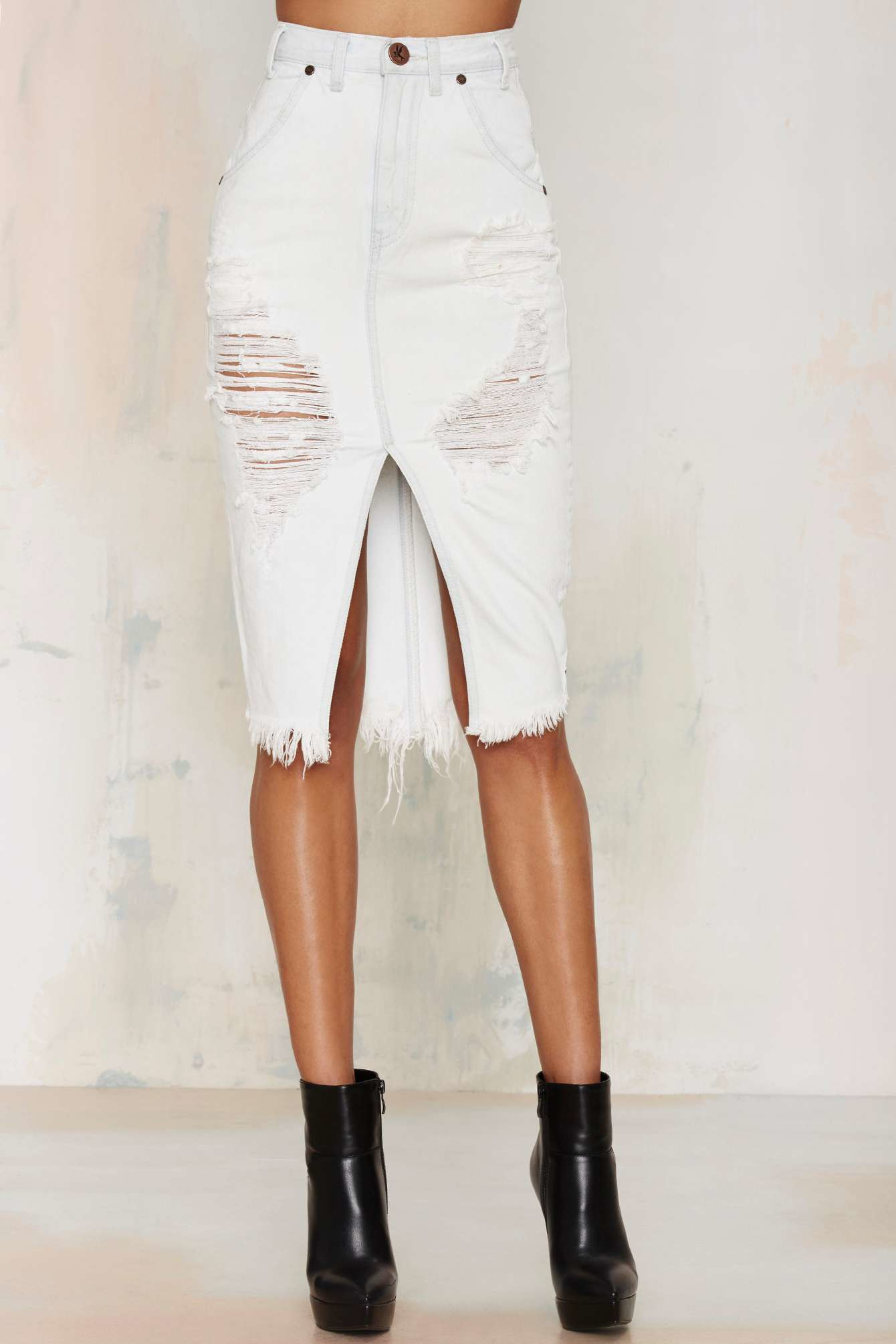One teaspoon Cadillac Distressed Denim Skirt in White | Lyst