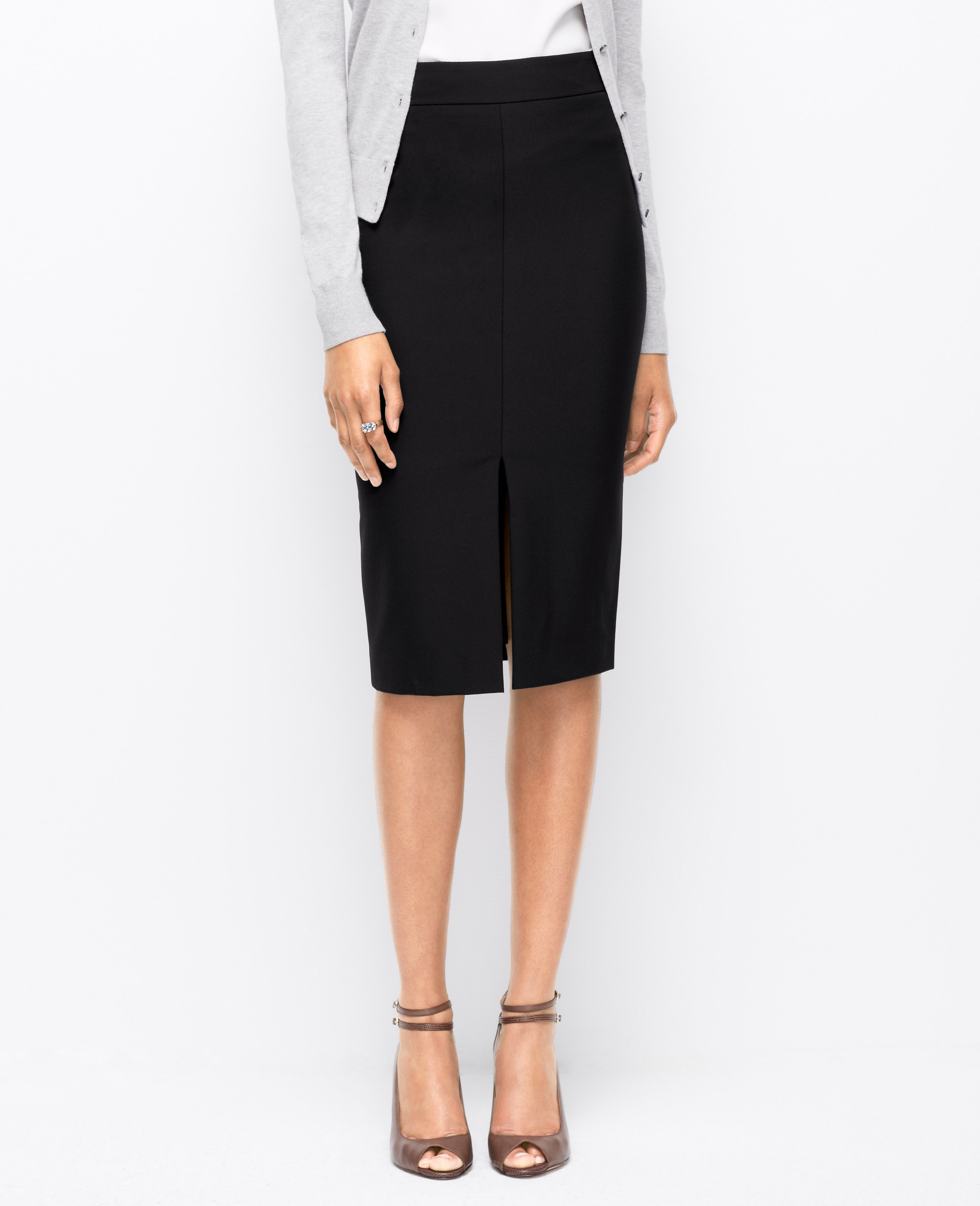Ann taylor Long Stretch Pencil Skirt in Black | Lyst