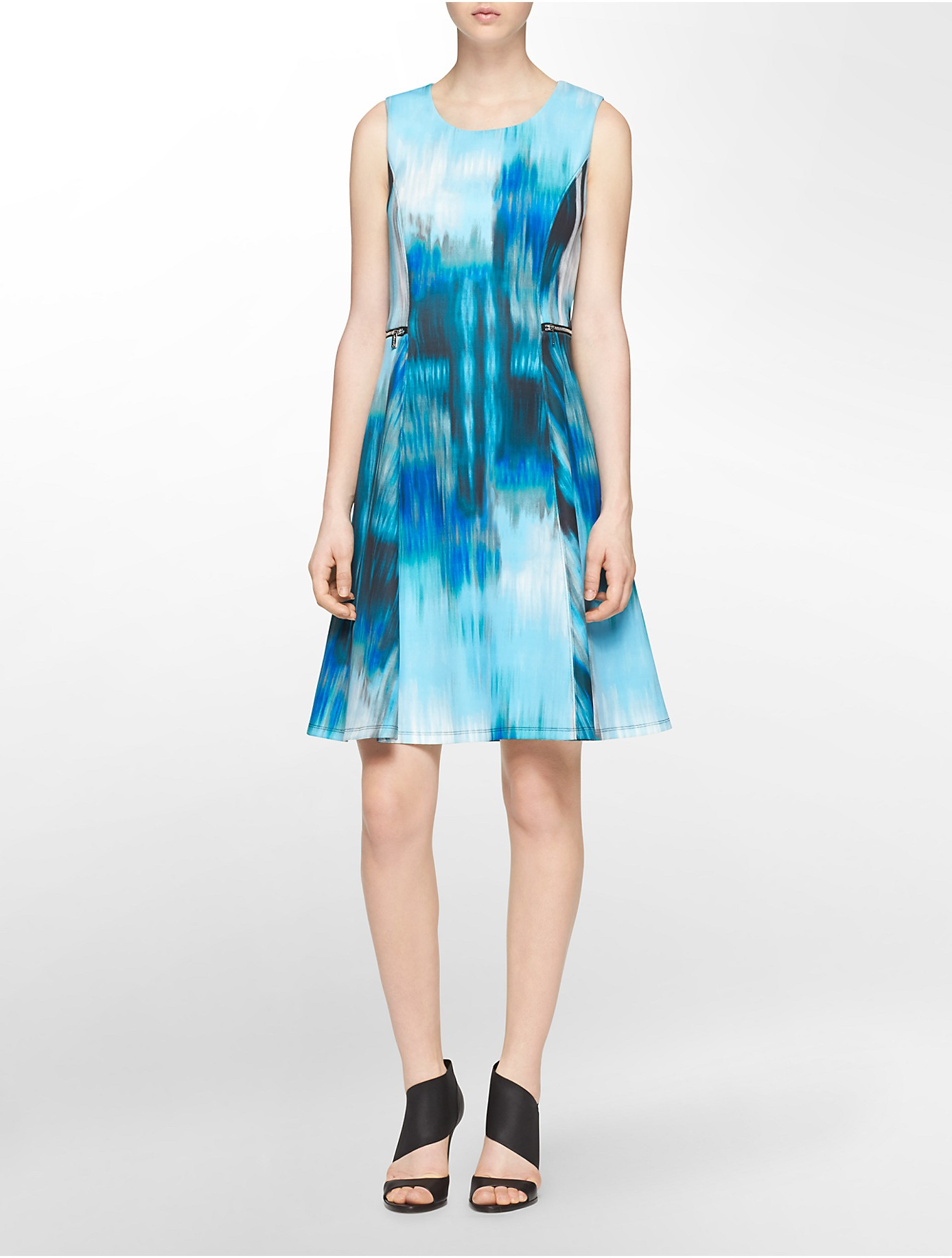 Lyst - Calvin Klein White Label Watercolor Neoprene Sleeveless Fit ...