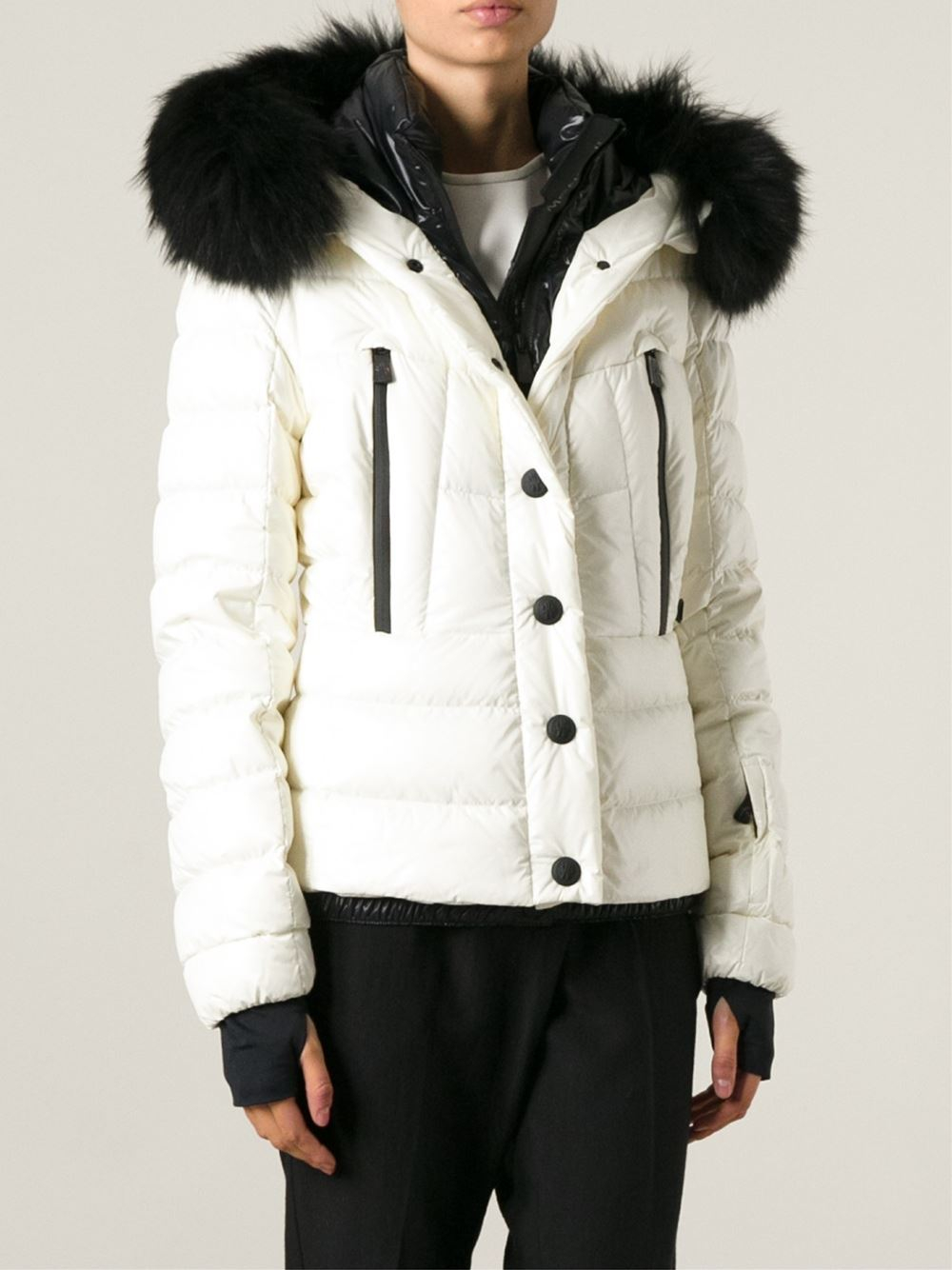Moncler grenoble Racoon Fur Trimmed Jacket in Black | Lyst
