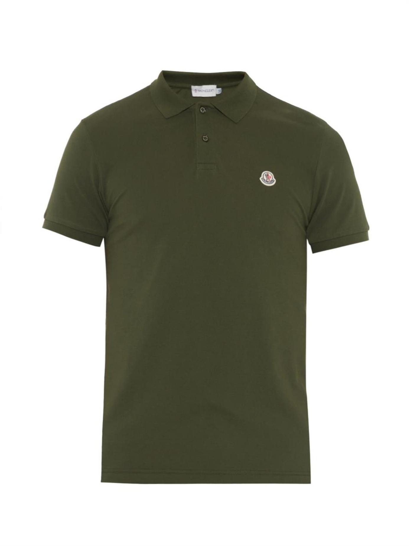 lyst moncler cotton piqu polo shirt in green for men. Black Bedroom Furniture Sets. Home Design Ideas