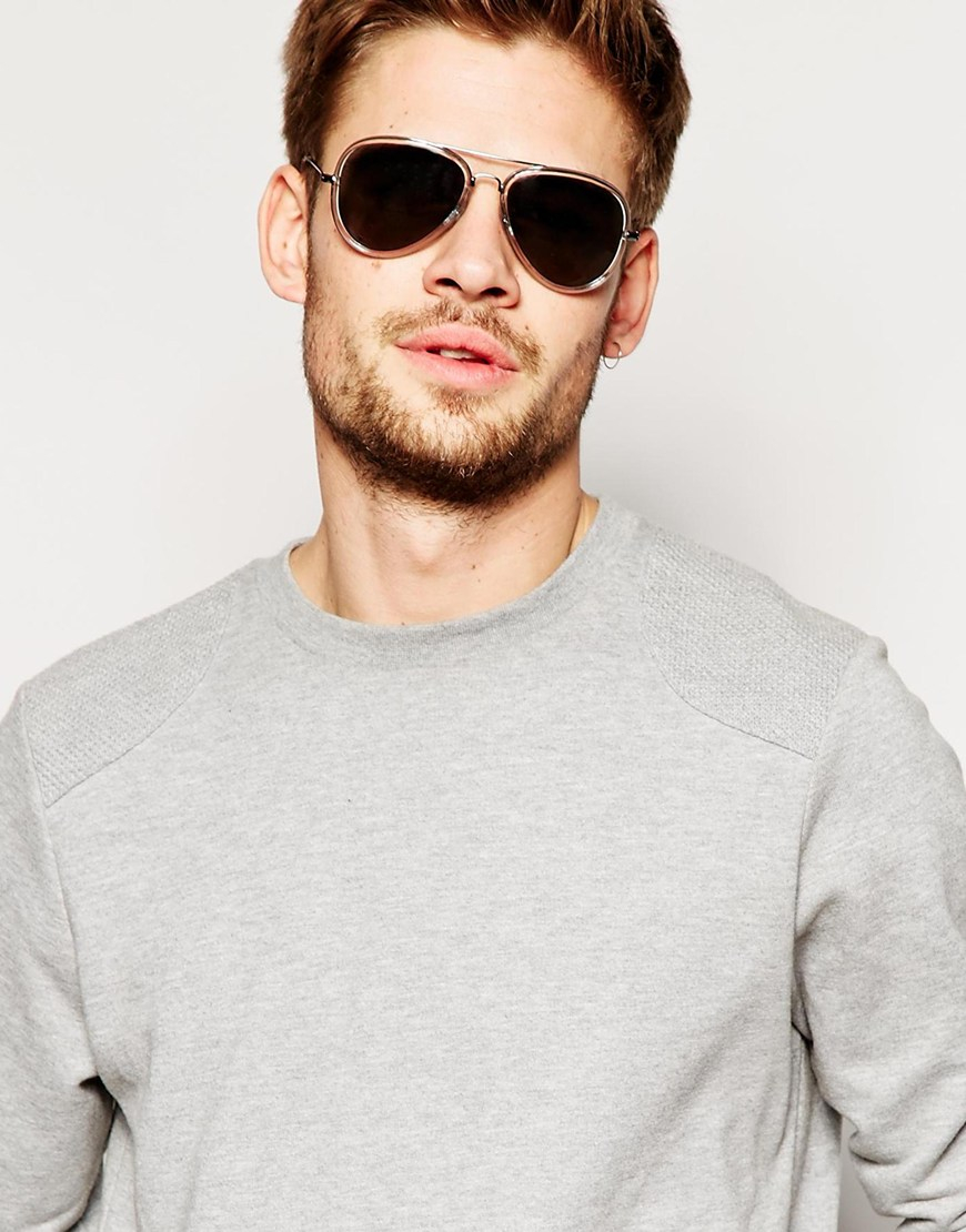 Lyst - Asos Aviator Sunglasses In Grey With Clear Frame in Gray for Men
