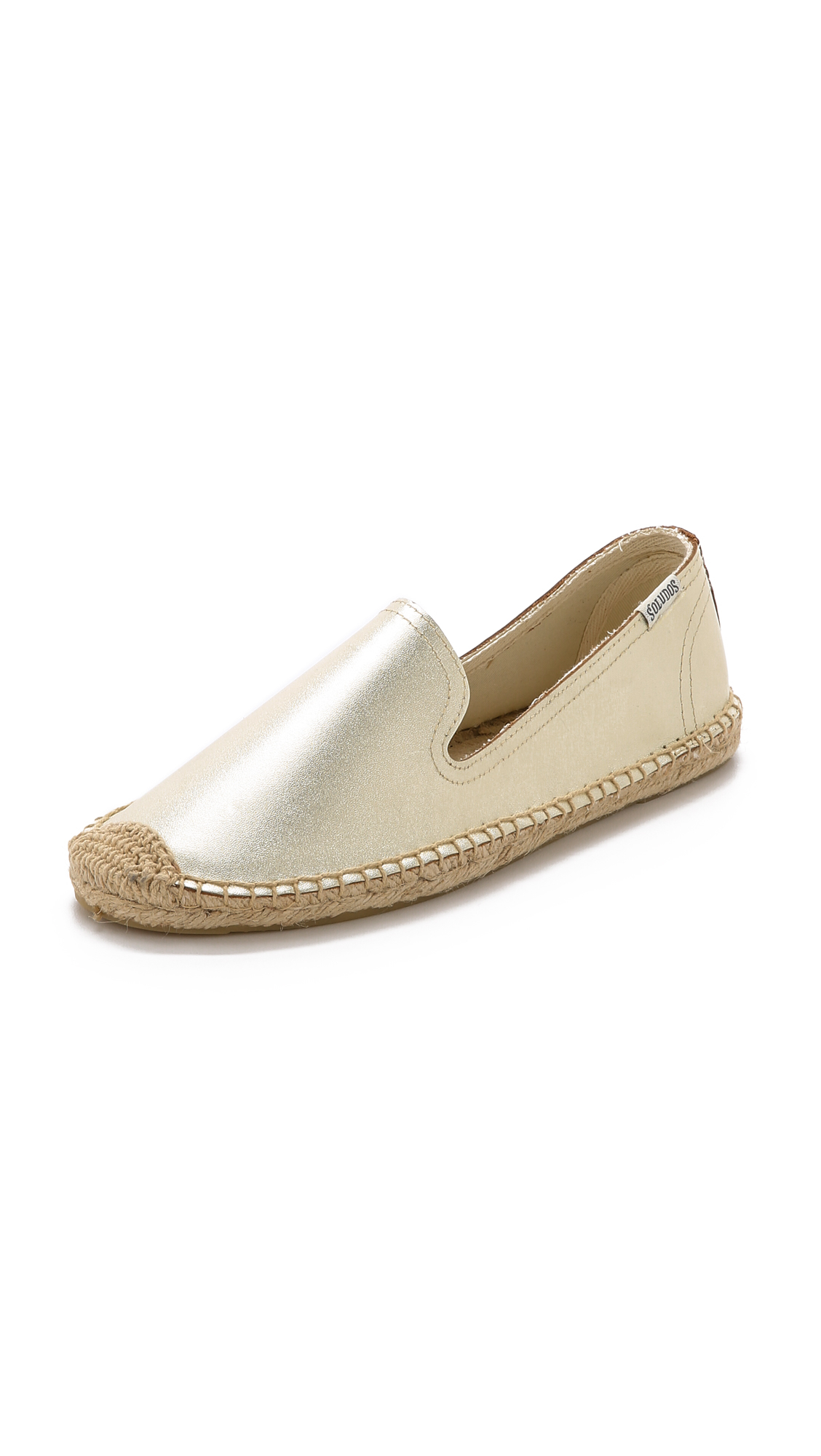 cd10e7541d454 Lyst - Soludos Metallic Leather Smoking Slipper Espadrilles in Metallic