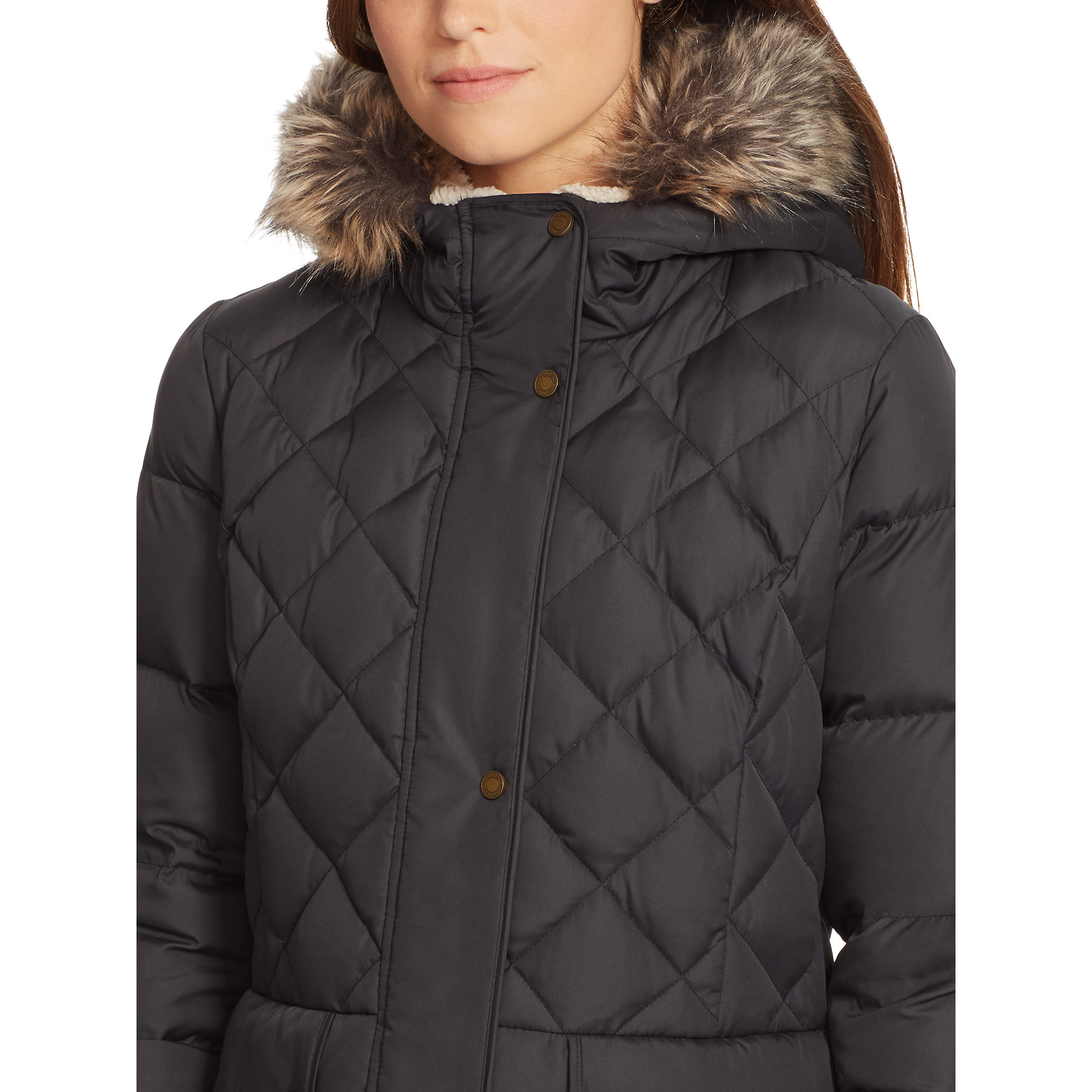 Ralph lauren Long Quilted Down Coat in Black | Lyst