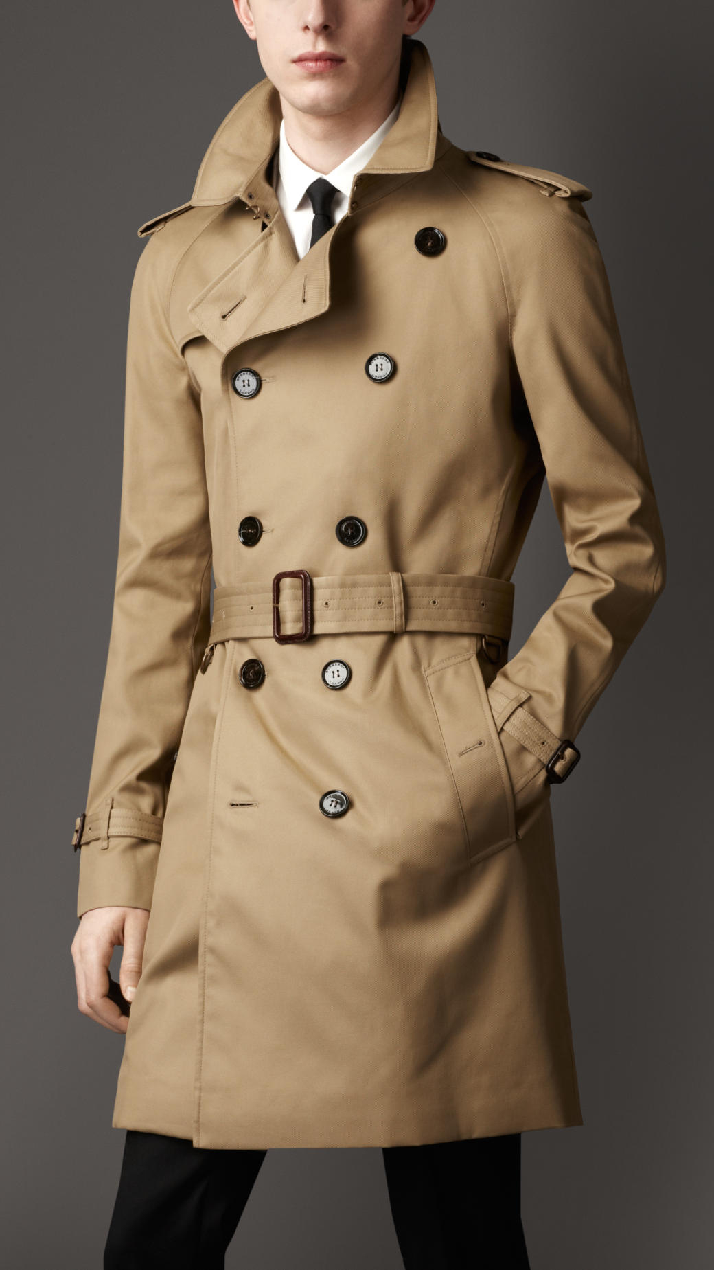 Burberry Mid-Length Technical Cotton Trench Coat in ...
