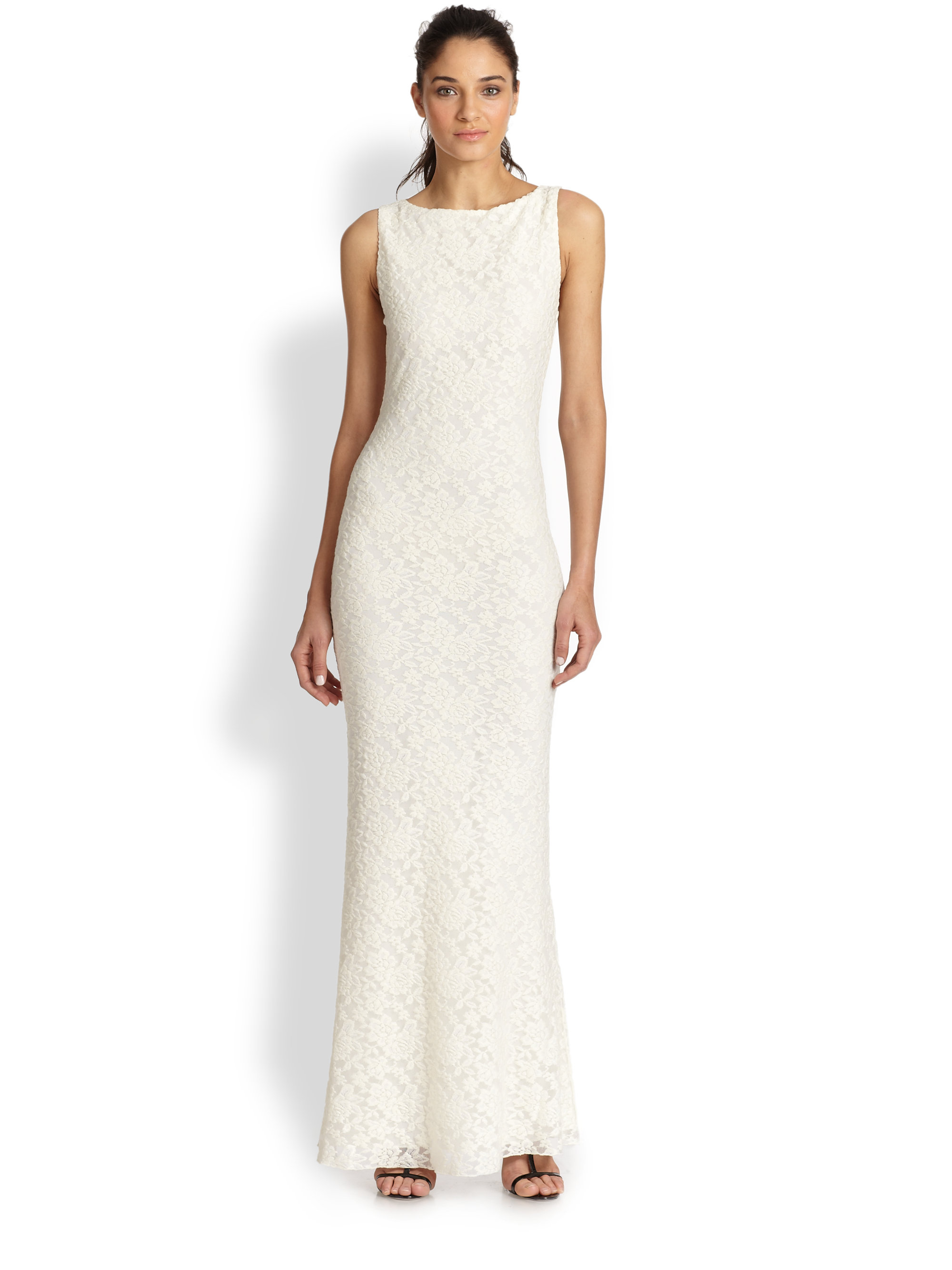Lyst - Alice + Olivia Sachi Open-Back Embroidered Gown in Natural