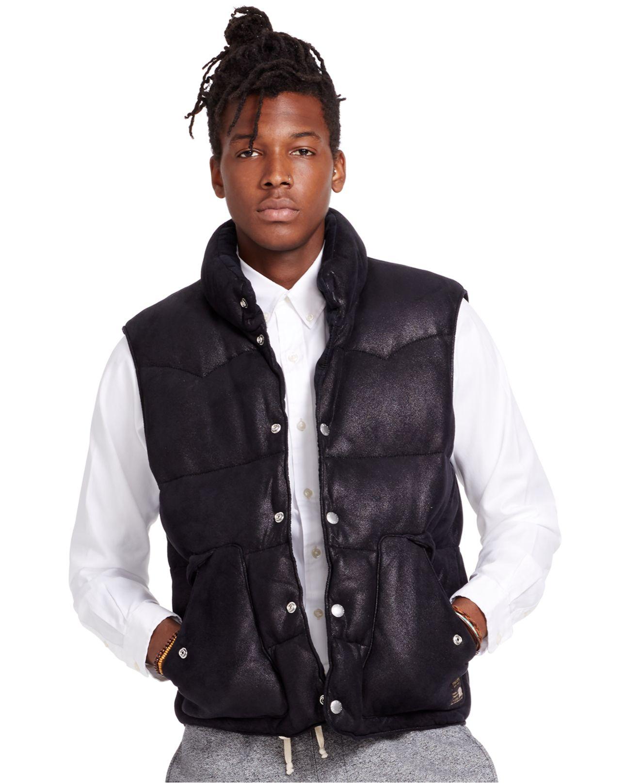 Denim Amp Supply Ralph Lauren Faux Leather Down Vest In