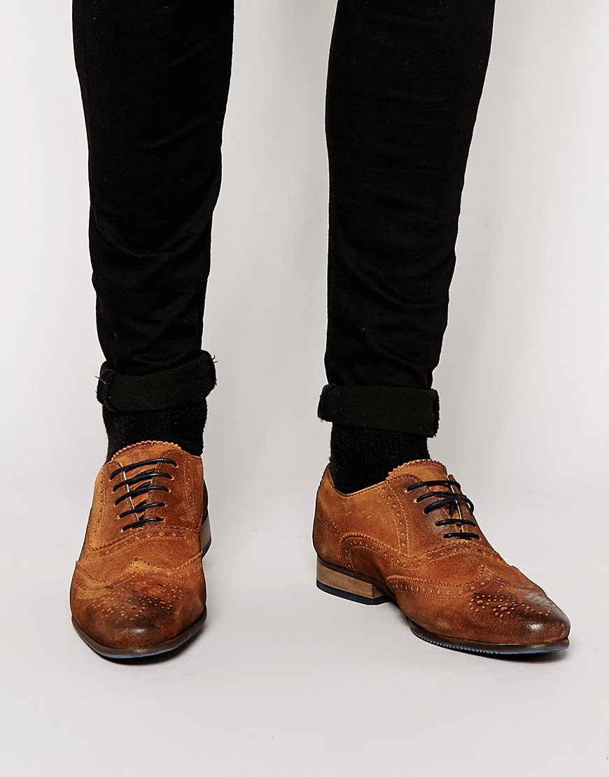 ASOS Brogue Shoes In Faux Leather With Contrast Sole GgHv9