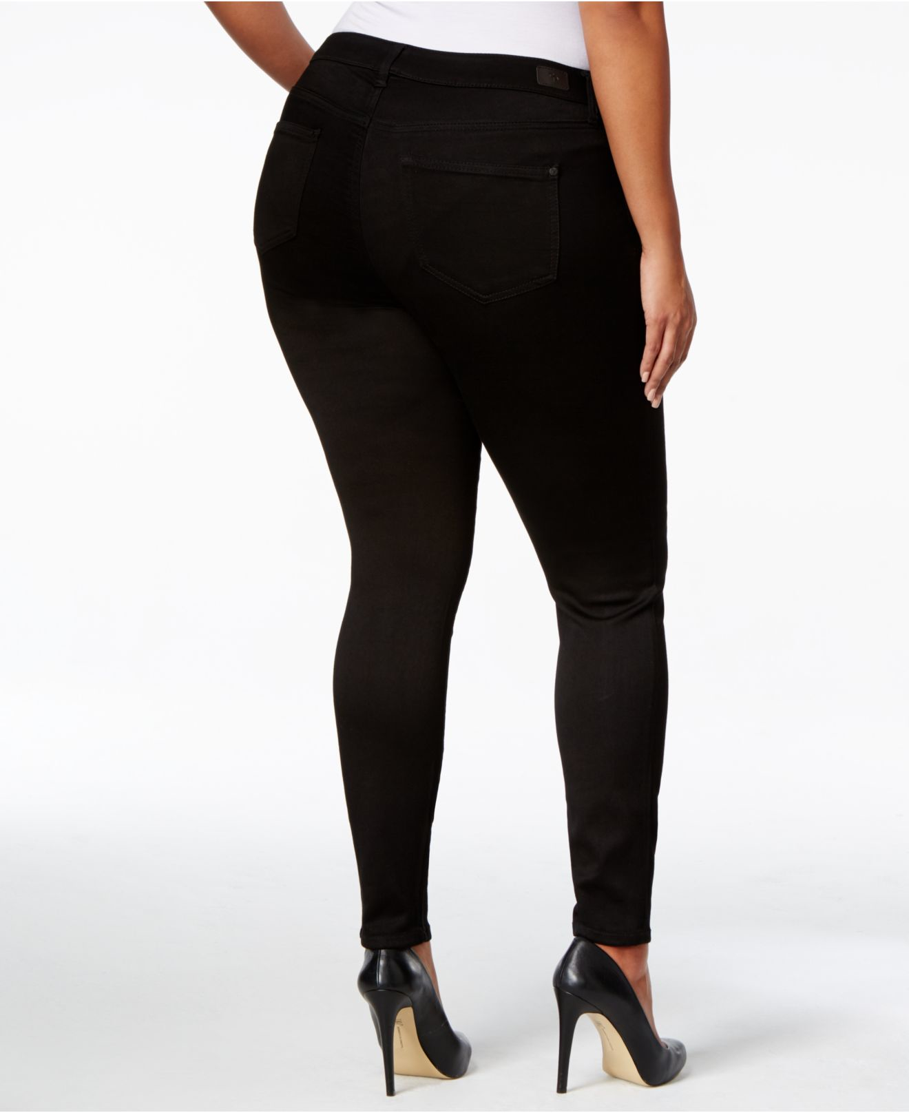 Celebrity pink Plus Size Liquid Denim Skinny Jeans in Black (Black Rinse) | Lyst