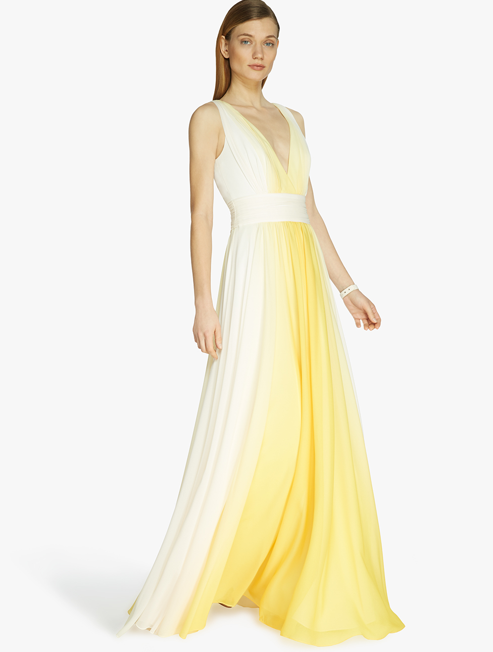 Lyst - Halston Ombre Printed Gown in Yellow