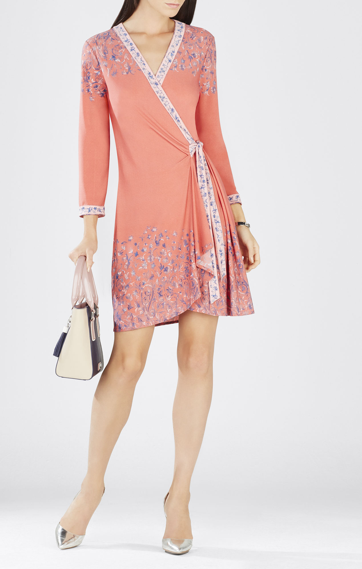 Lyst - BCBGMAXAZRIA Adele Printed Wrap Dress in Pink e6b9709e979