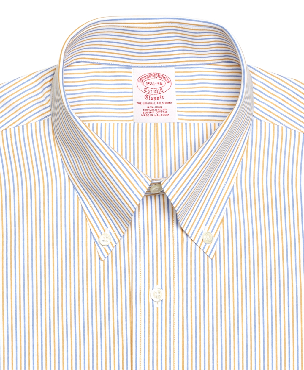 Brooks brothers non iron regular fit alternating stripe for Blue and yellow dress shirt