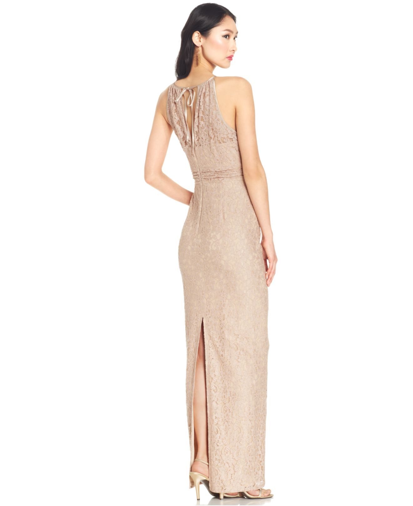Lyst - Adrianna Papell Illusion Lace Halter Gown in Pink