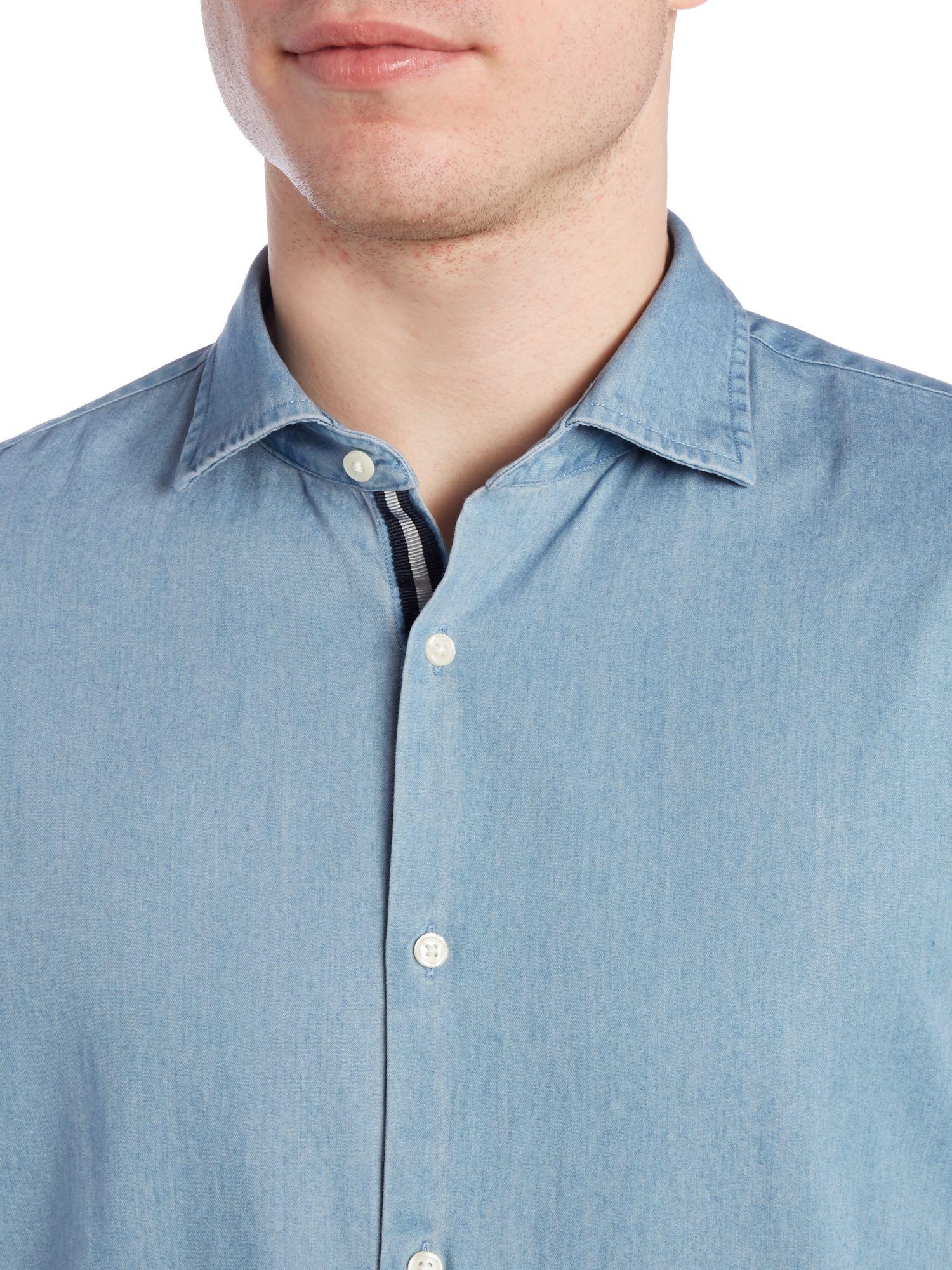 michael kors slim fit chambray denim light wash shirt in. Black Bedroom Furniture Sets. Home Design Ideas