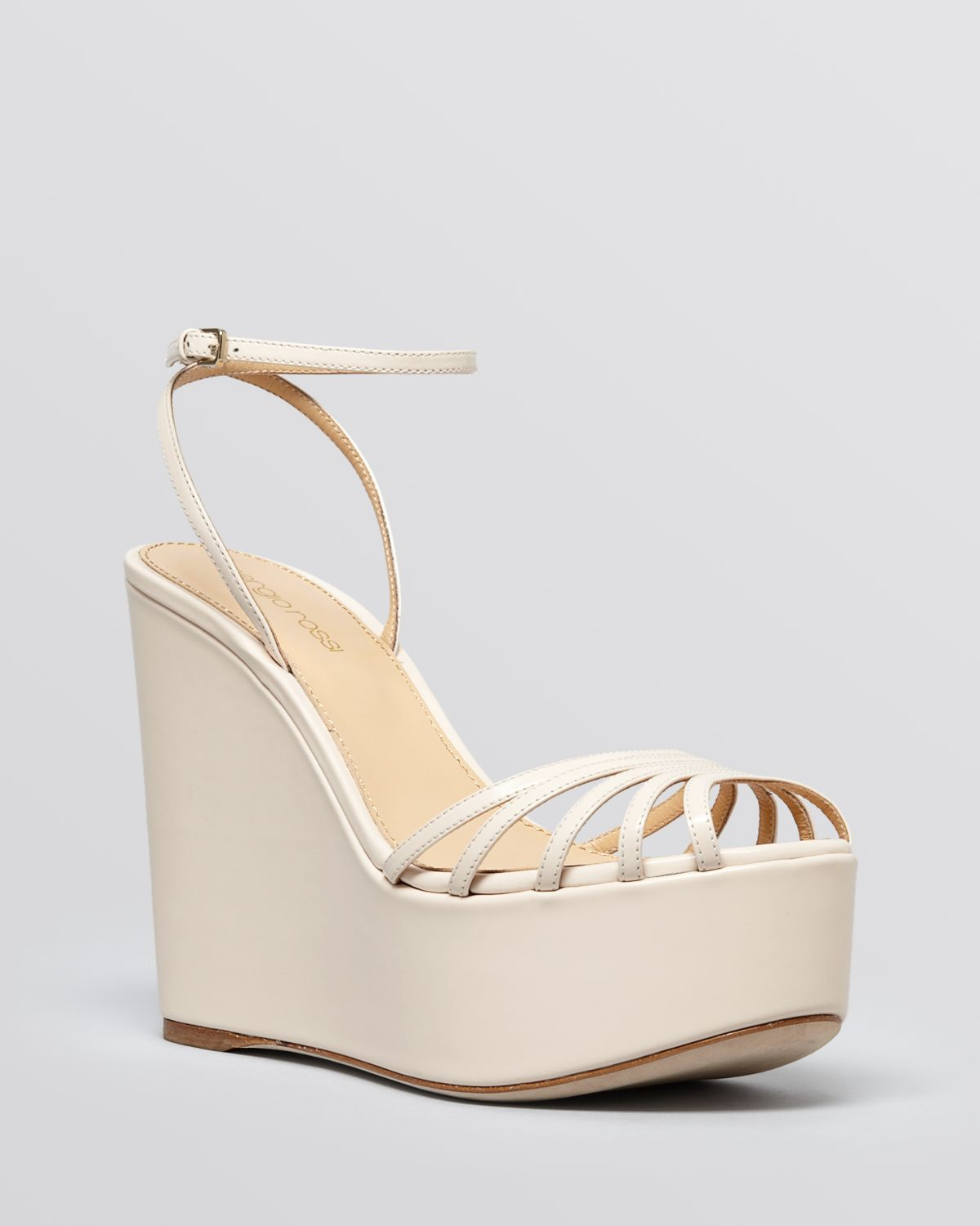 clearance online official site shop online Sergio Rossi Leather Peep-Toe Wedges comfortable cheap online Nn9Lg
