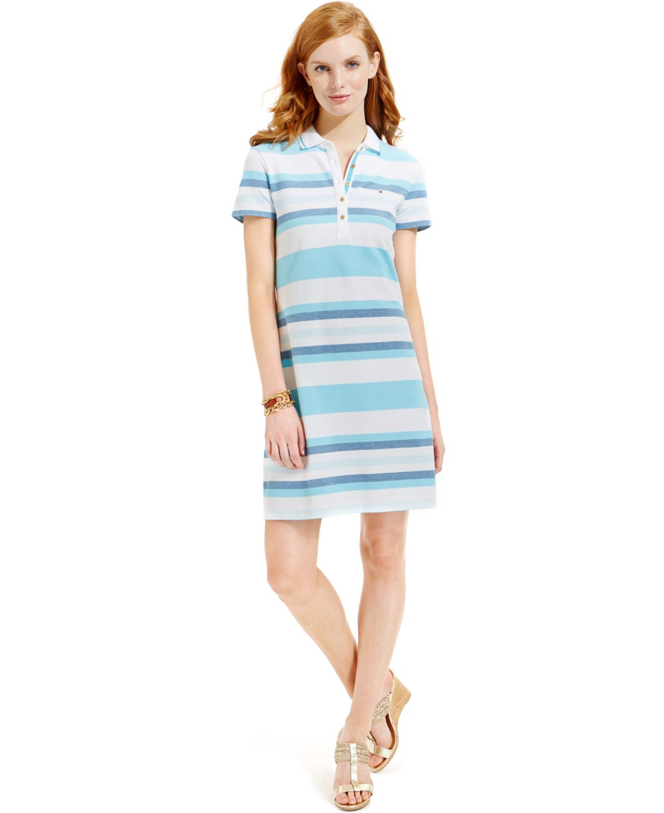33028e25 Tommy Hilfiger Striped Polo Shirt Dress in Blue - Lyst