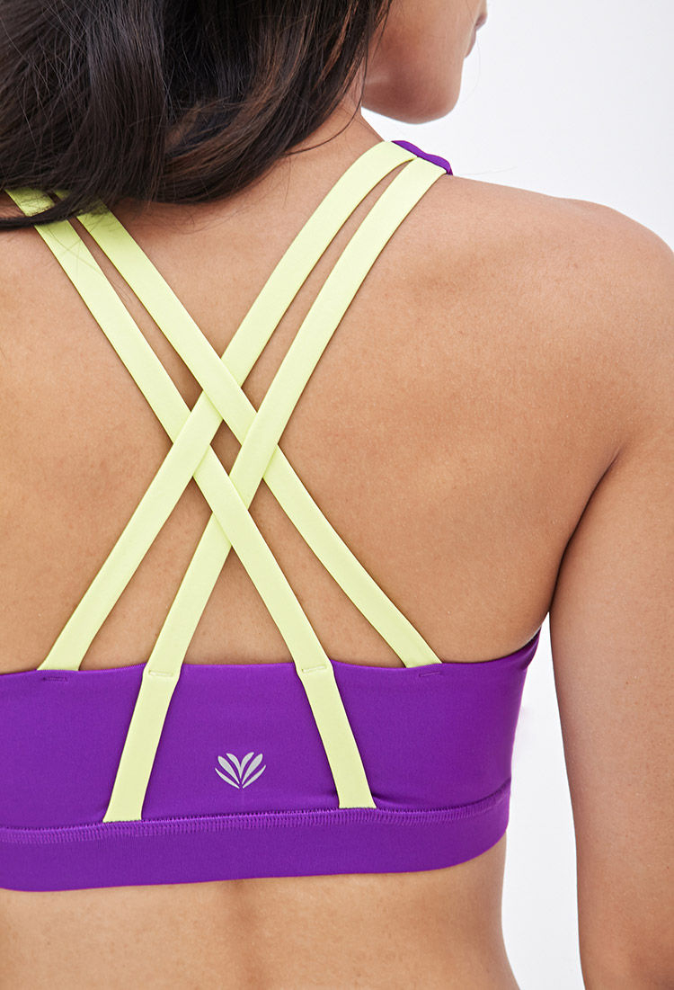 aac5d52c89 Lyst - Forever 21 Medium Impact - Strappy Back Sports Bra in Purple