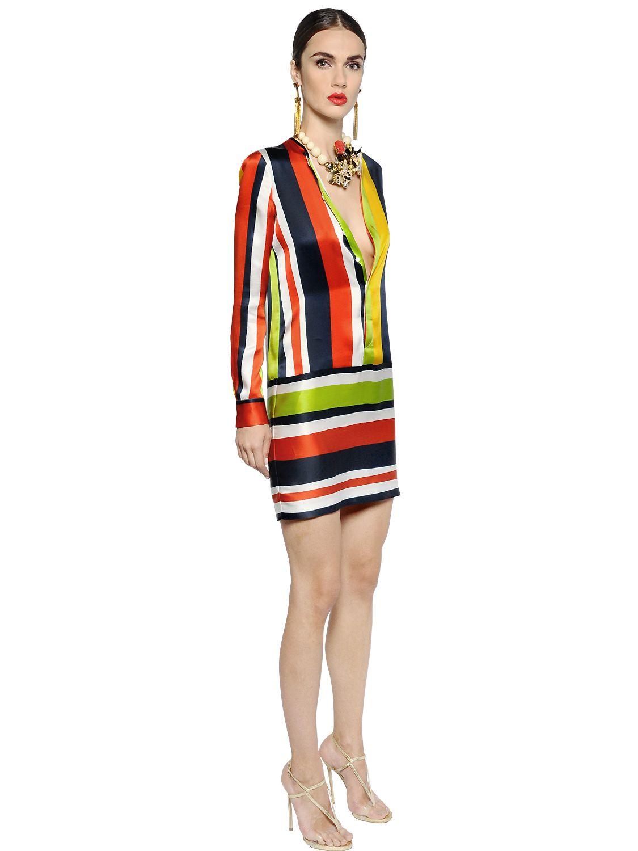 3322493d59 DSquared² Striped Silk Satin Dress - Lyst