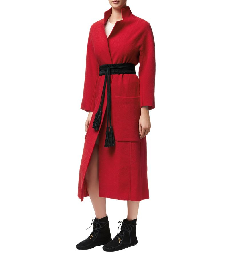 Maje Grenat Long Wool Belted Coat in Red | Lyst
