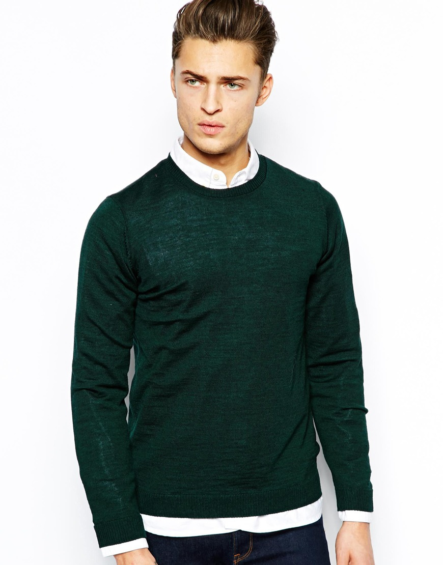 Asos Merino Mix Crew Neck Jumper in Green for Men | Lyst