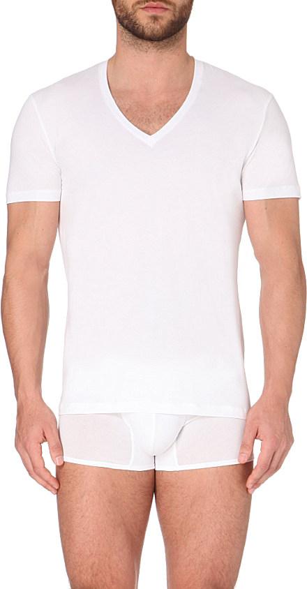 La perla seamless v neck t shirt in white for men lyst for V neck white t shirts for men
